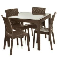 Holiday HM710 90x90 Camlı Masa + 4 Adet HK710 Deluxe Sandalye | ID0082