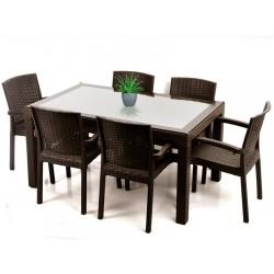 Violet Bahçe Oturma Grubu 90x150 Camlı Masa + 6 Adet Koltuk | ID1346