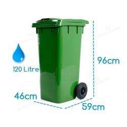 Çöp Konteyneri Eko Tekerlekli Kapaklı 120 Litre Plastik   ID0504