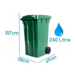 Çöp Konteyneri Pedallı Eko Tekerlekli Kapaklı 240 Litre Plastik | ID0502