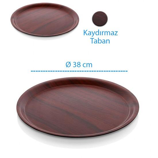 Kraft Lamine Kaydırmaz Yuvarlak Servis Tepsisi Ø38cm | ID1477