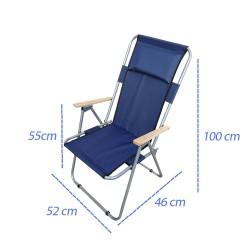 Ahşap Kollu Yastıklı Katlanabilir Kamp Sandalyesi   ID1311