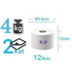 Senta İçten Çekmeli Mini Kağıt Tuvalet Kağıdı 4 Kg 12'li Rulo | ID0592